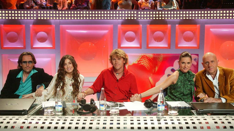 Alejandro Abad con Noemí Galera y Risto como jurado de 'OT' en Telecinco.