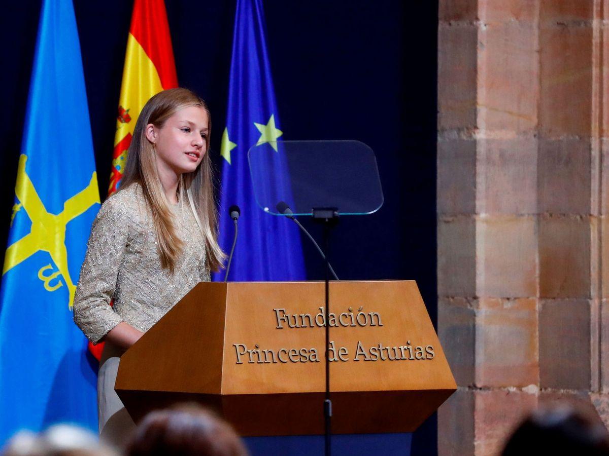Foto: Leonor, durante su discurso. (Reuters)