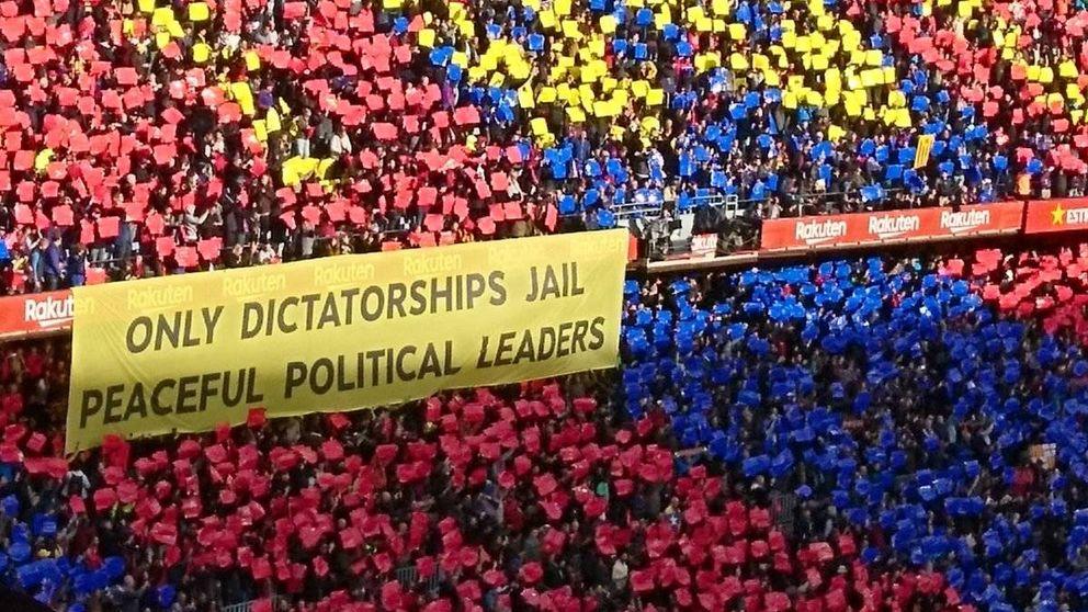 La pancarta reivindicativa del Barcelona que critica la encarcelación de líderes políticos