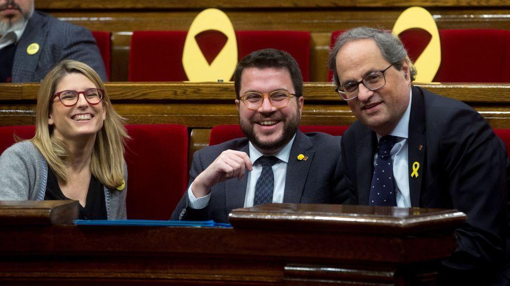 Foto: Elsa Artadi, Pere Aragonès y Quim Torra. (EFE)