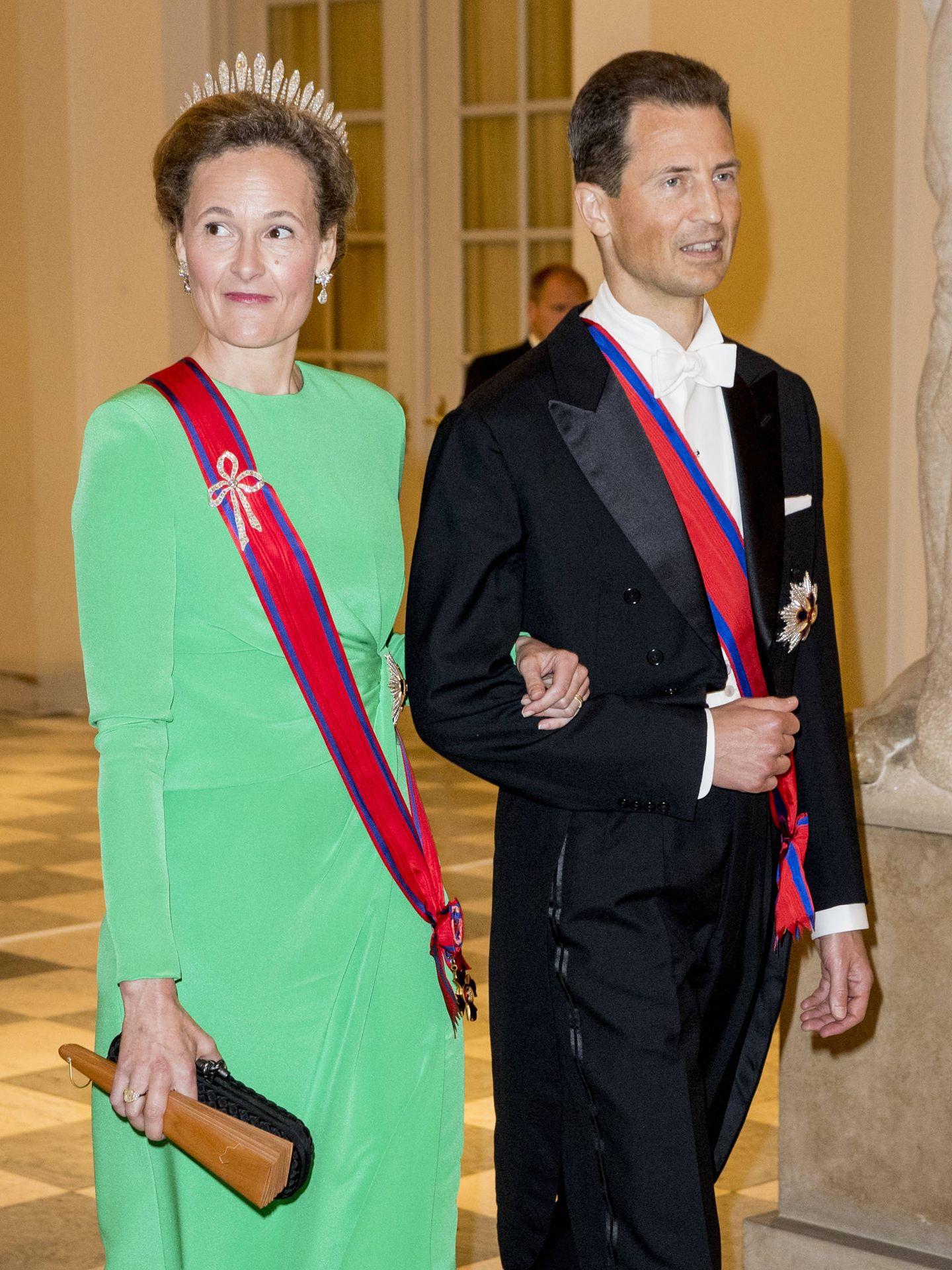 Sophie y Alois de Liechtenstein, en el 50º cumpleaños de Federico de Dinamarca. (Getty)