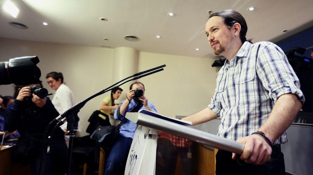 Foto: El secretario general de Podemos, Pablo Iglesias, comparece ante los medios en el Congreso de los Diputados, el pasado martes. (EFE)