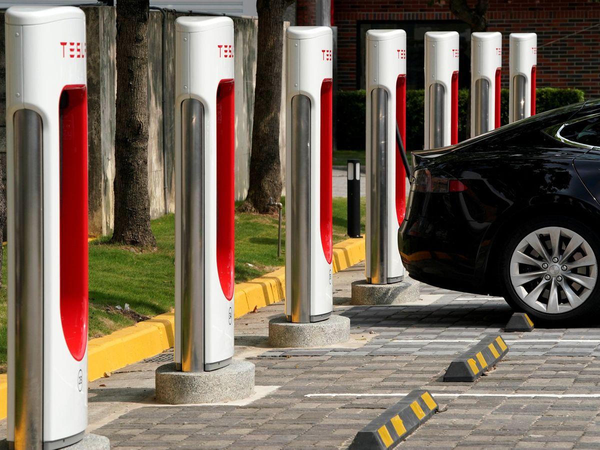 Foto: Una estación de carga de Tesla