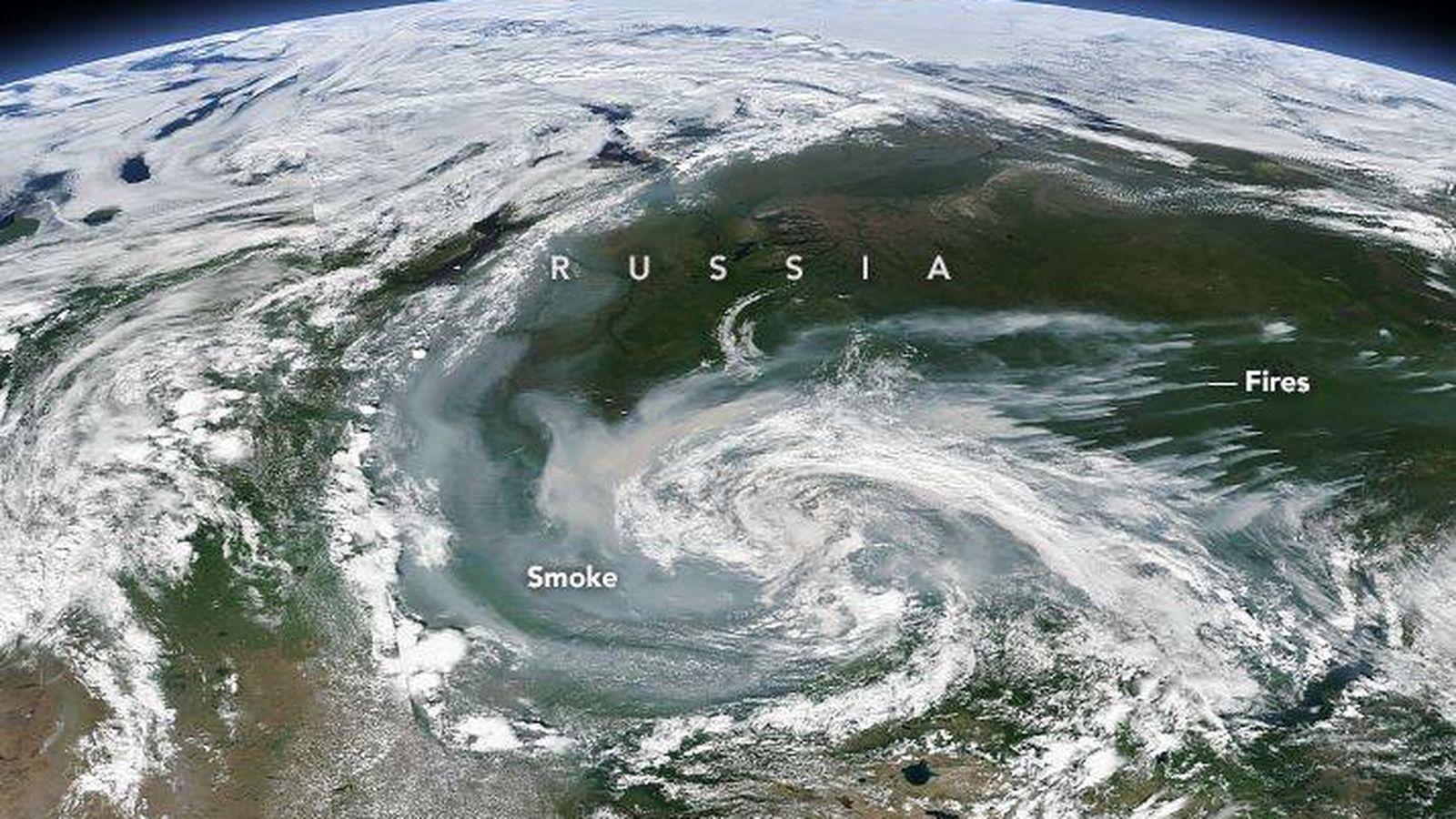 Foto: Vista de los incendios forestales en Rusia (NASA Earth Observatory)