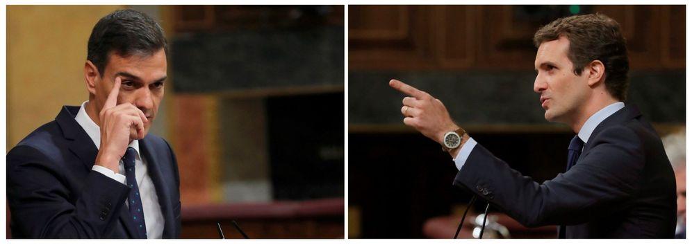 Foto: Pedro Sánchez y Pablo Casado, en el Congreso de los diputados. (EFE)