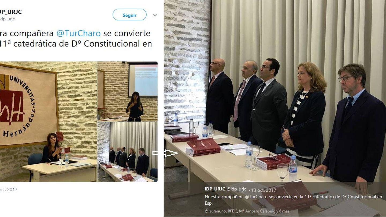 Tuit del Instituto de Derecho Público. Álvarez Conde es el segundo por la izquierda en el tribunal.
