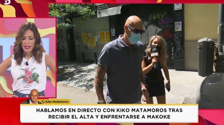 Kiko Matamoros atendiendo a 'Socialité'. (Telecinco).
