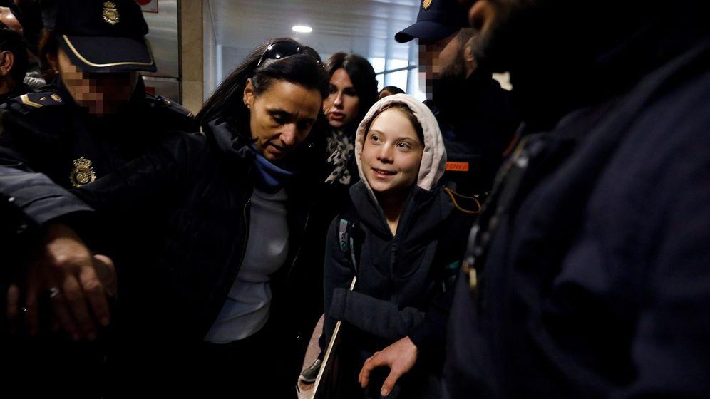 Foto: Greta Thunberg, a su llegada a Madrid. (EFE)