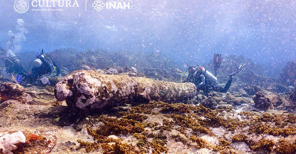 Foto: Imagen del pecio descubierto entre los corales de Banco Chinchorro. (FOTO: INAH)