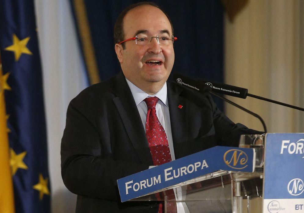 Foto: Miquel Iceta, primer secretario del PSC, durante el desayuno informativo de Nueva Economía Fórum, este 23 de noviembre en el hotel Ritz de Madrid. (EFE)