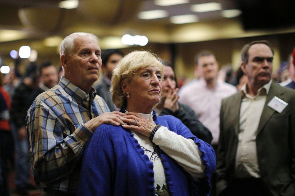 Foto: Simpatizantes deTrump en la esccuela de Des Moines, Iowa, tras conocer los resultados. (Reuters)