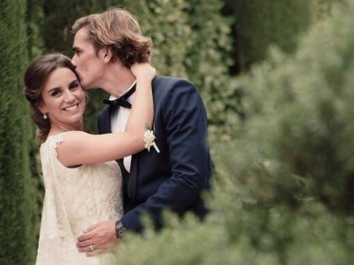 Foto: Erika Choperena y Antoine Griezmann, el día de su boda. (Instagram @eri_chope)