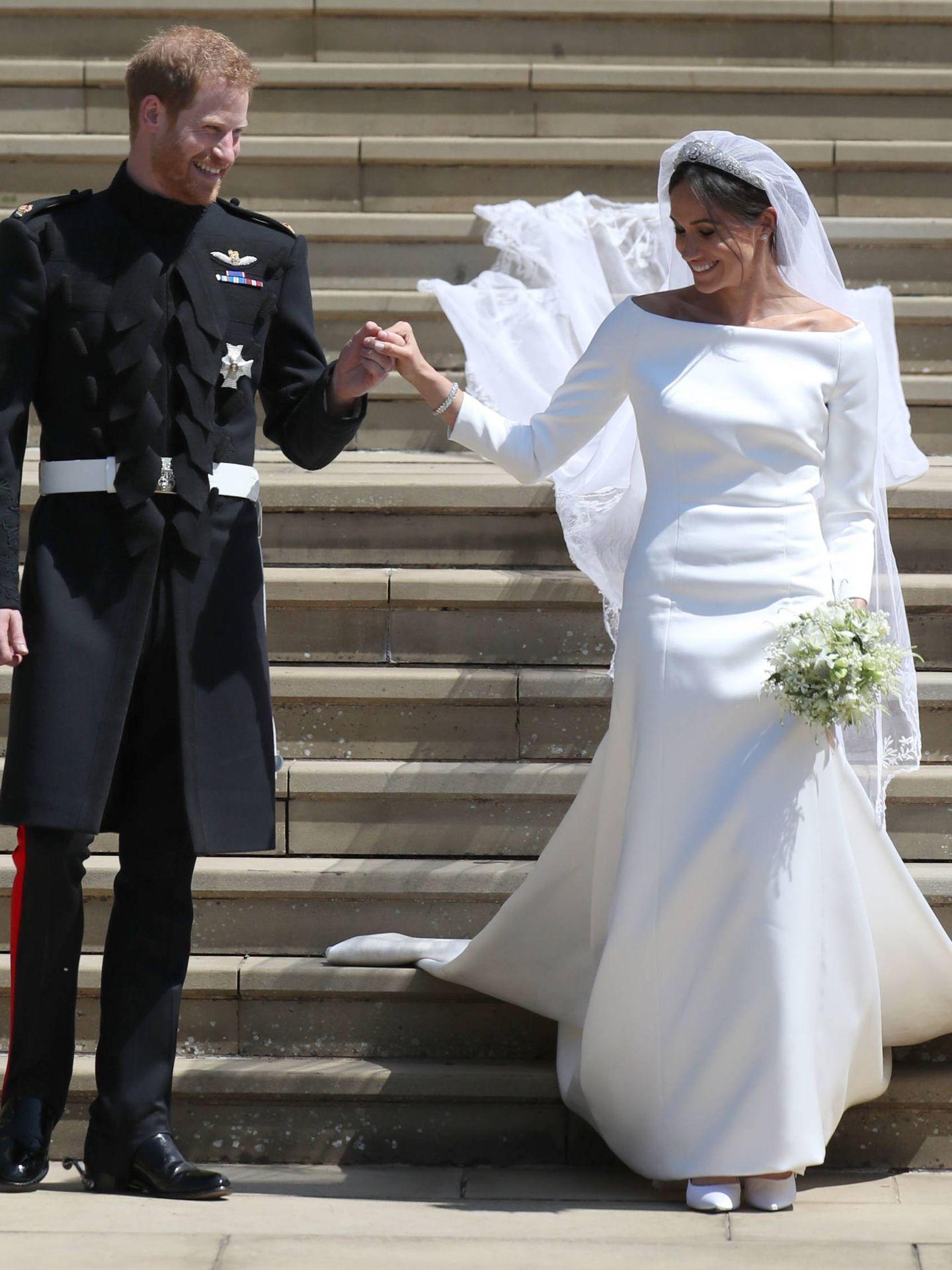 Detalle completo del vestido de Meghan Markle. (Getty)