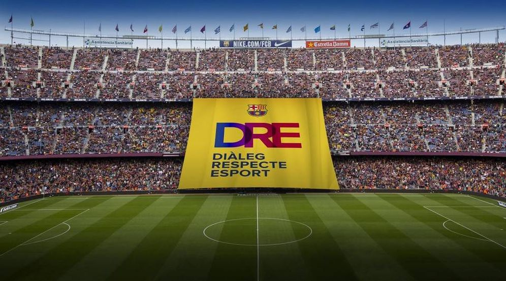 Foto: Imagen de la pancarta que se desplegará antes del Barcelona-Olympiacos. (FCBarcelona)