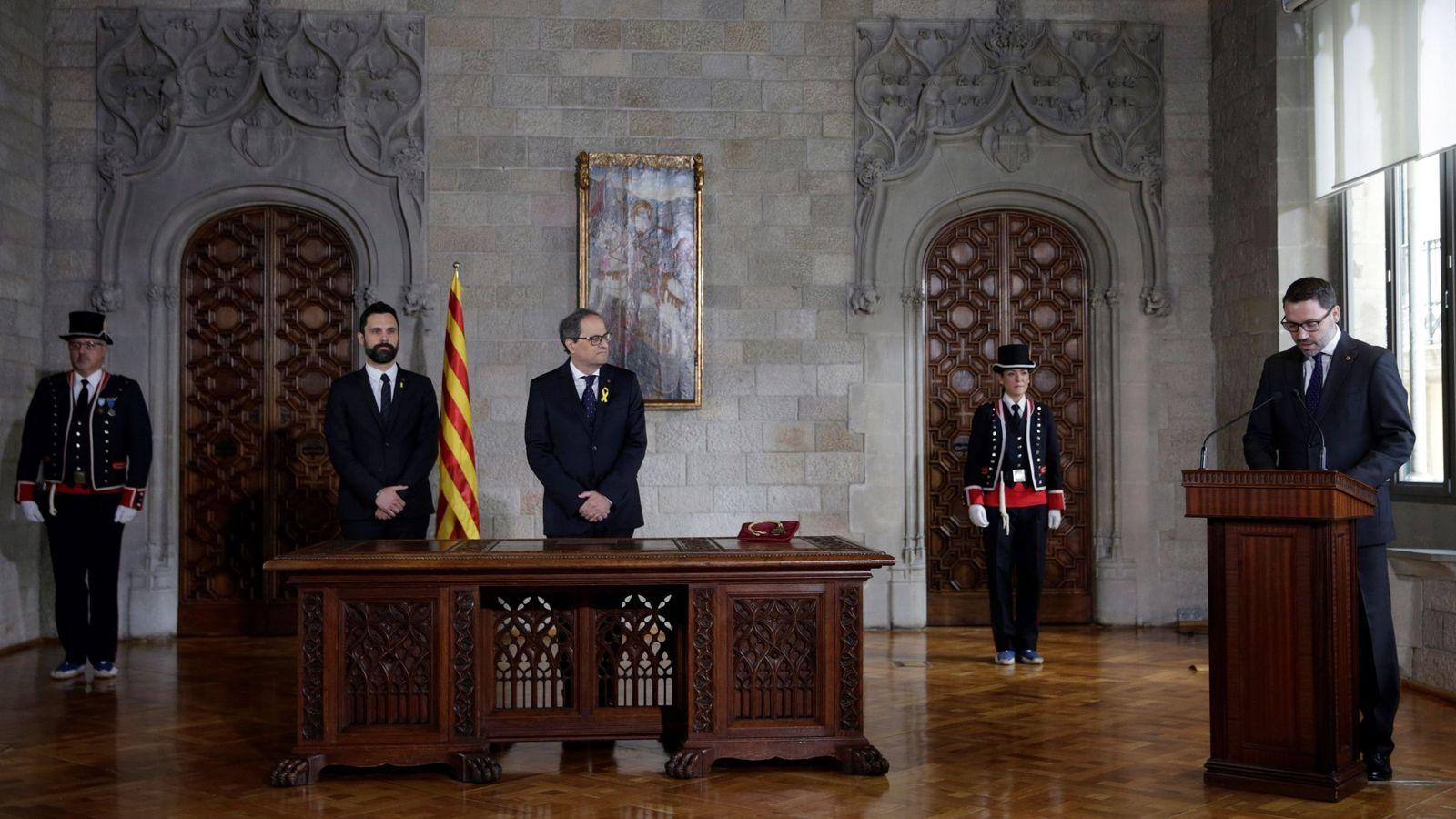 Foto: Quim Torra durante el acto de toma de posesión como Presidente de la Generalitat. (EFE)