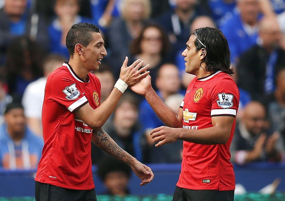 Foto: Di María y Falcao fueron titulares contra el Leicester (Reuters).