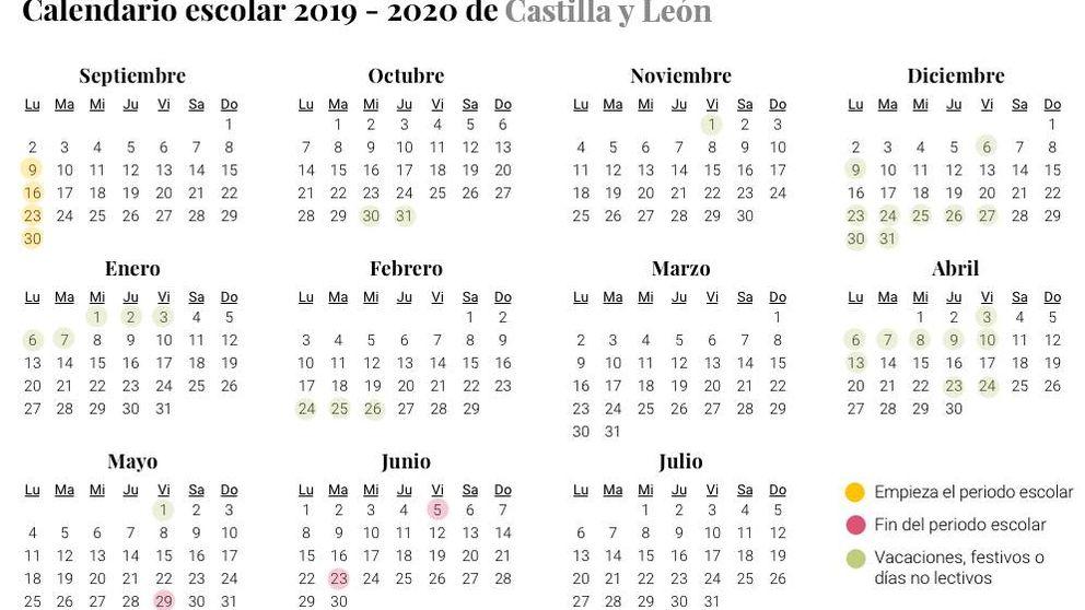 Calendario escolar 2019-2020 para Castilla y León: vacaciones, festivos y días no lectivos