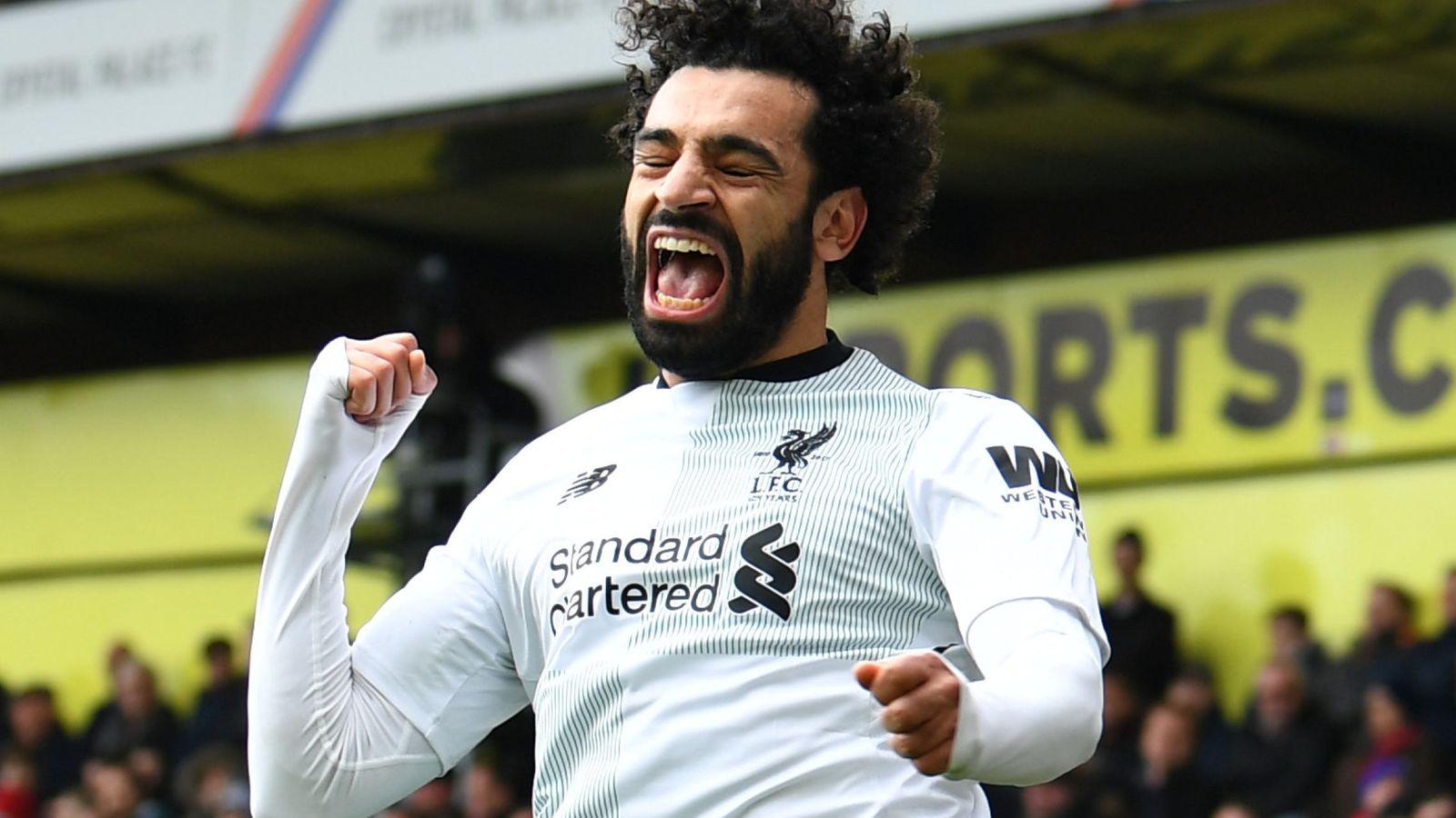 Foto: Mo Salah celebra su último gol con el Liverpool. (Reuters)