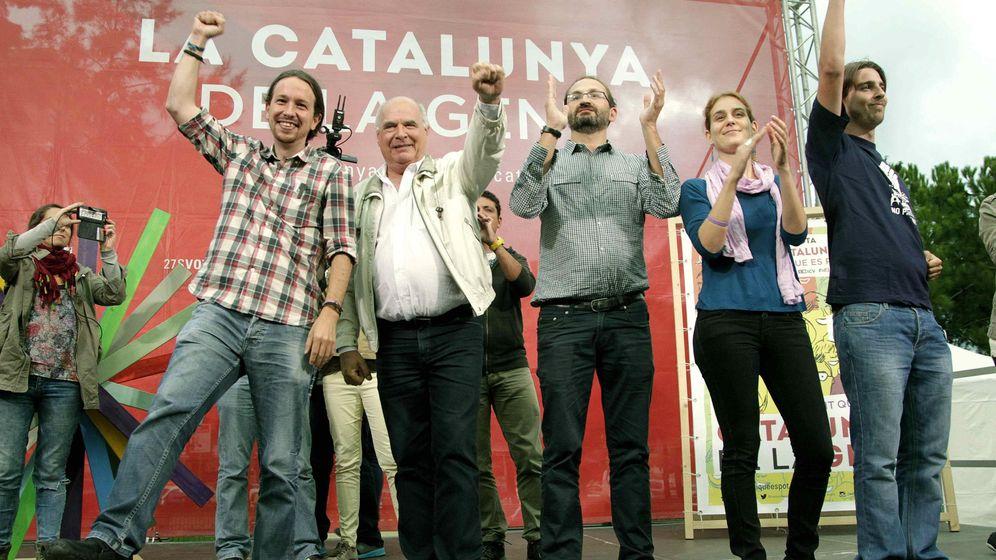 Foto: El diputado Joan Giner, a la derecha, junto a Rabell, Joan Herrera y Pablo Iglesias. (Efe)