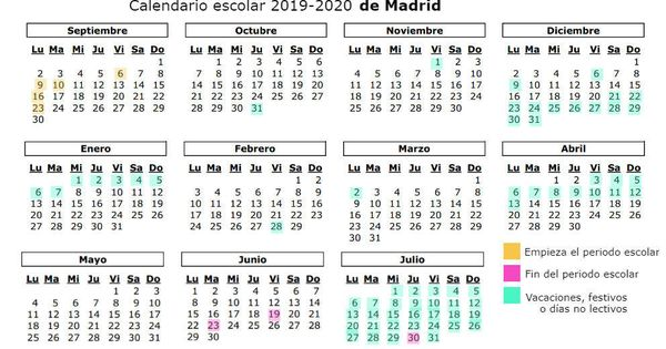 Calendario 2019 Escolar 2020 Madrid.Calendario Escolar 2019 2020 Cuando Es La Vuelta Al Cole En