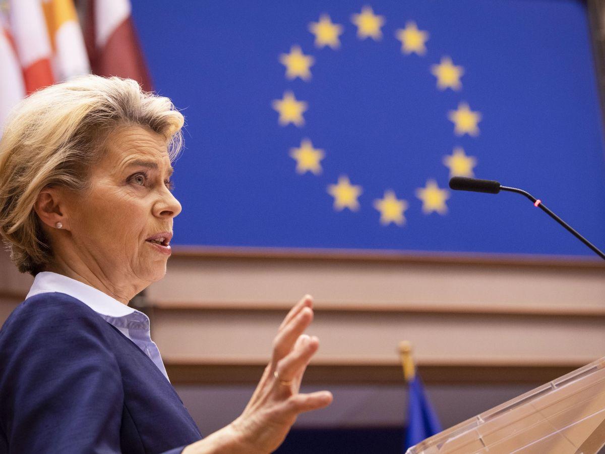 Foto: Von der Leyen durante su discurso ante la Eurocámara. (EFE)