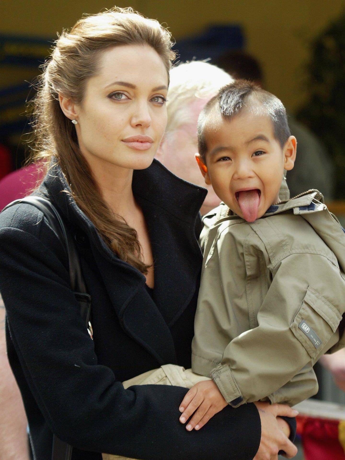 Angelina, con Maddox en brazos. (Getty)