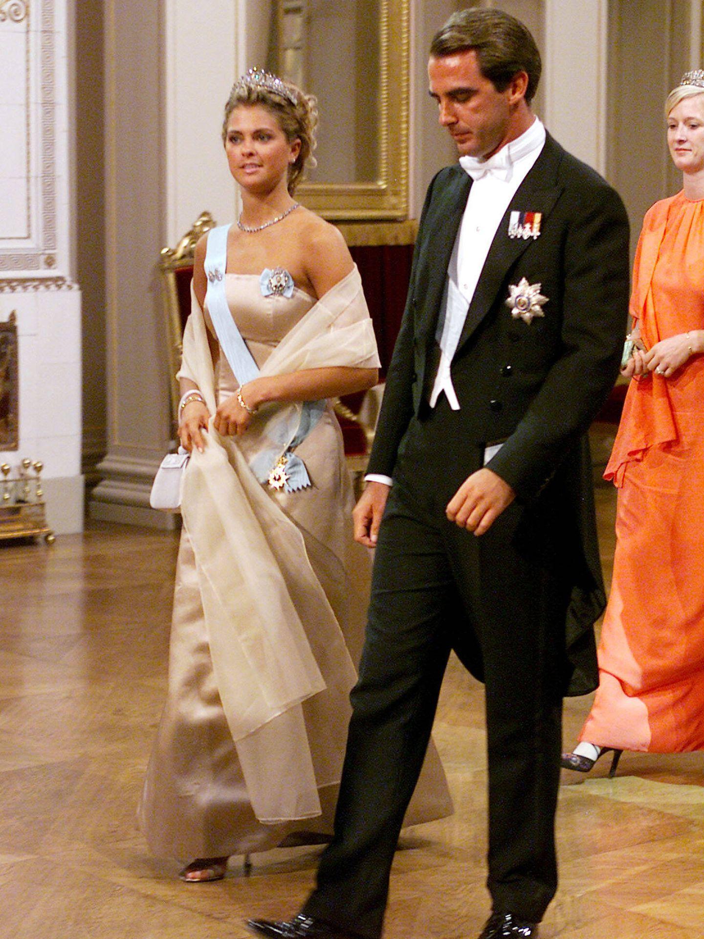 Magdalena de Suecia, con Nicolás de Grecia. (Getty)