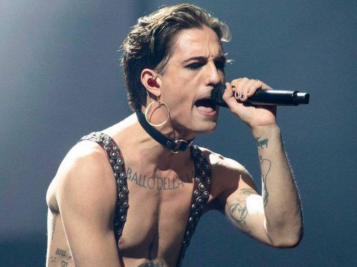 Foto: Damiano David (Maneskin), en 'Eurovisión 2021'.