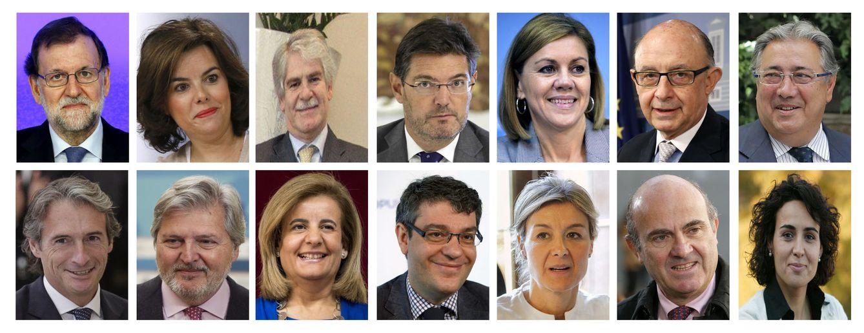 Foto: Combo del presidente del Gobierno, Mariano Rajoy, junto a sus ministros del nuevo Ejecutivo. (EFE)