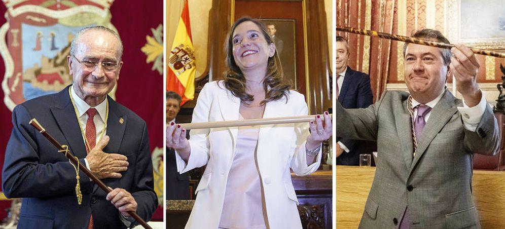 Foto: Francisco de la Torre (Málaga), Inés Rey (La Coruña) y Juan Espadas (Sevilla). (EFE)