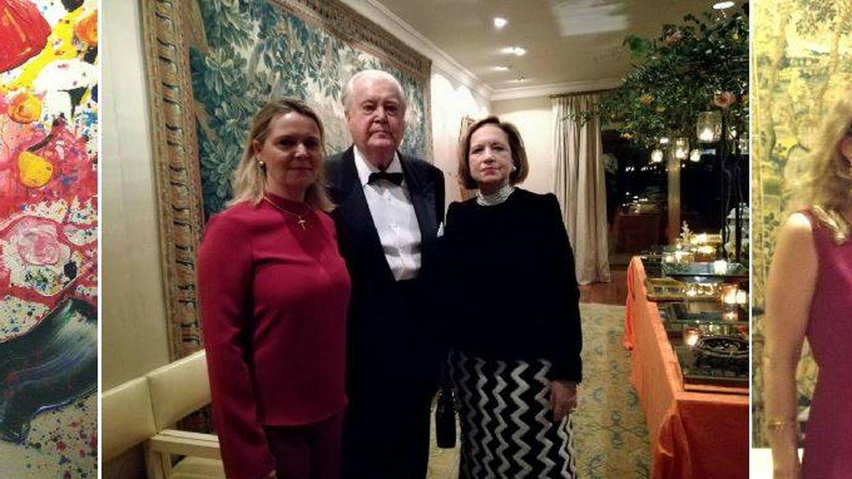 De izda. a dcha: Mario Sandoval y Sofía Mishaan, el presidente de honor de Vocento y su mujer, Mercedes Baptista, junto a María Salom, y los duques de Aveyro. (VA)