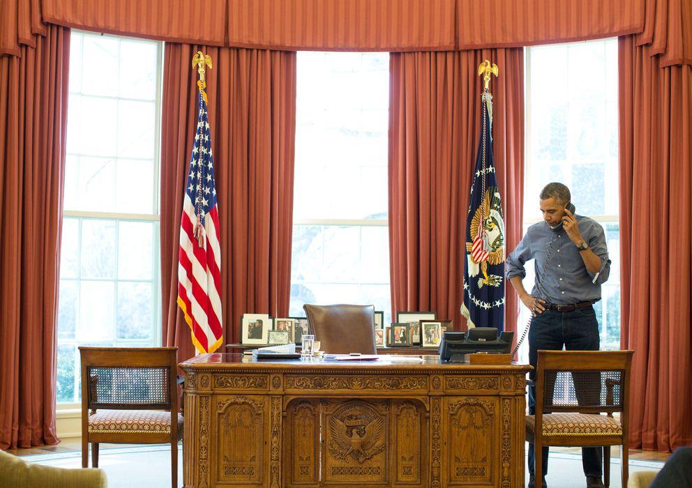 Foto: El presidente Barac Obama conversa con Vladimir Putin este fin de semana sobre la crisis de Ucrania, en una imagen cedida por la Casa Blanca (Reuters).