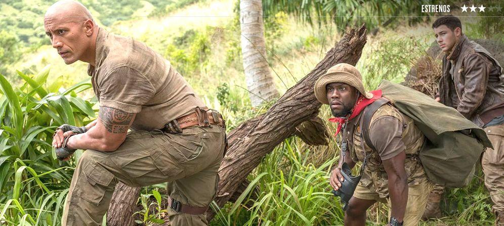 Foto: Dwayne Johnson, Jack Black y Kevin Hart protagonizan 'Jumanji: bienvenidos a la jungla'. (Sony)