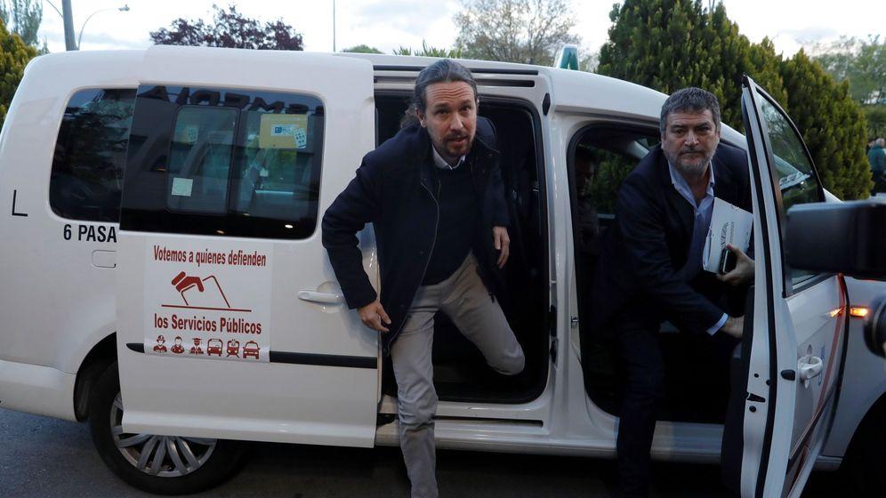 Foto: El líder de Podemos, Pablo Iglesias, a su llegada a la sede de Atresmedia. (EFE)