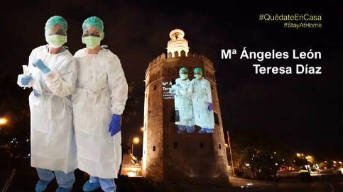 La Torre del Oro se ilumina para homenajear a los sanitarios