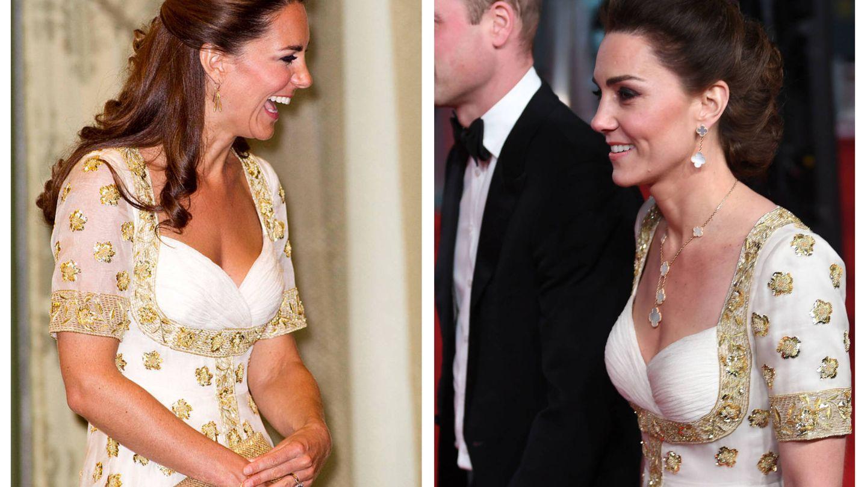 El detalle de las mangas en el vestido de Kate Middleton. (Getty / EFE)