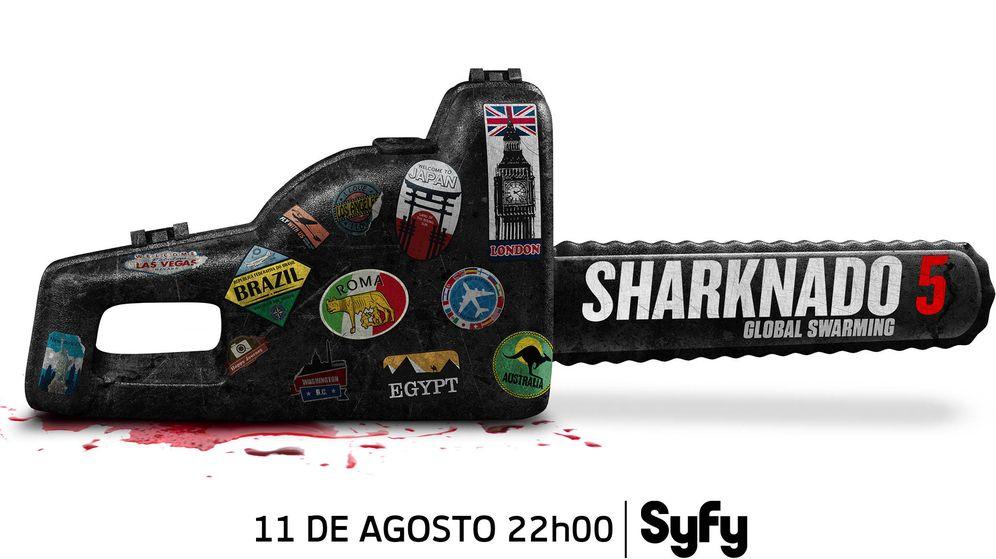 Foto: Póster oficial de la quinta entrega de la saga 'Sharknado'. (Syfy)