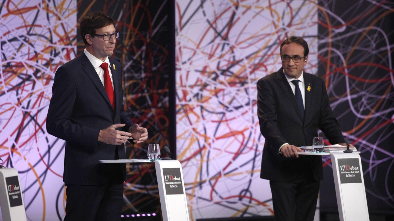 Carles Mundó (ERC, i) y Josep Rull (PDeCAT, d) durante el debate. (LaSexta)