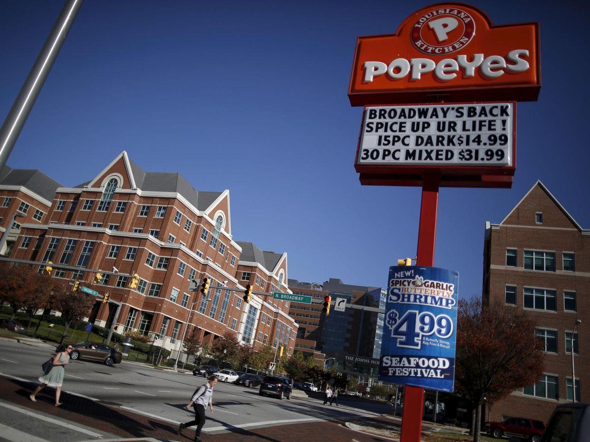 Foto: Cartel de Popeyes en Nueva Orleans, EEUU. (Reuters)