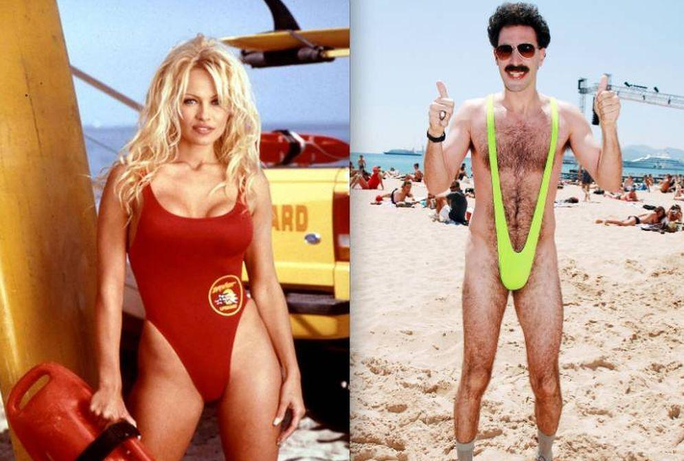 Foto: Pamela Anderson en 'Los vigilantes de la playa' vs. Sacha Baron Cohen en 'Borat'