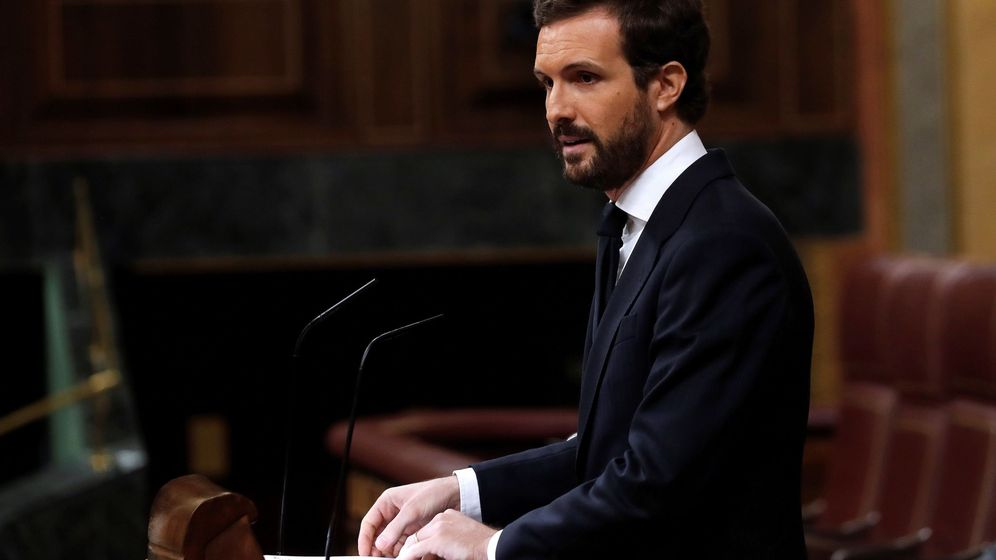 Foto: El líder del PP, Pablo Casado, en el Congreso este miércoles. (EFE)