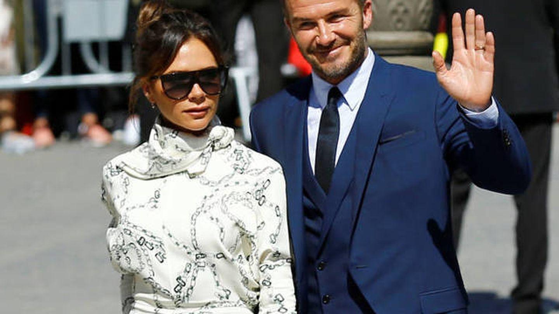 Victoria y David Beckham en la boda de Pilar Rubio y Sergio Ramos. (Reuters)