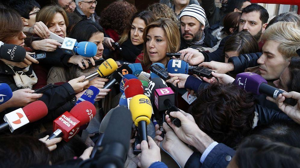 Foto: Susana Díaz, a su llegada a Ferraz para asistir al comité federal del PSOE de este sábado, 30 de enero. (EFE)