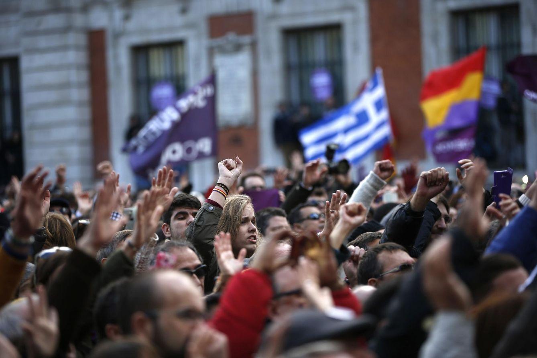 Foto: Simpatizantes de Podemos participan en una marcha en Madrid, el 31 de enero de 2015. (Reuters)
