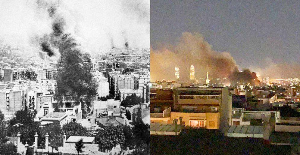 Foto: A la izquierda, columnas de humo en Barcelona por los incendios durante la Semana Trágica en 1909. A la derecha, una imagen de los disturbios de la Ciudad Condal tras la sentencia del 'procés'.