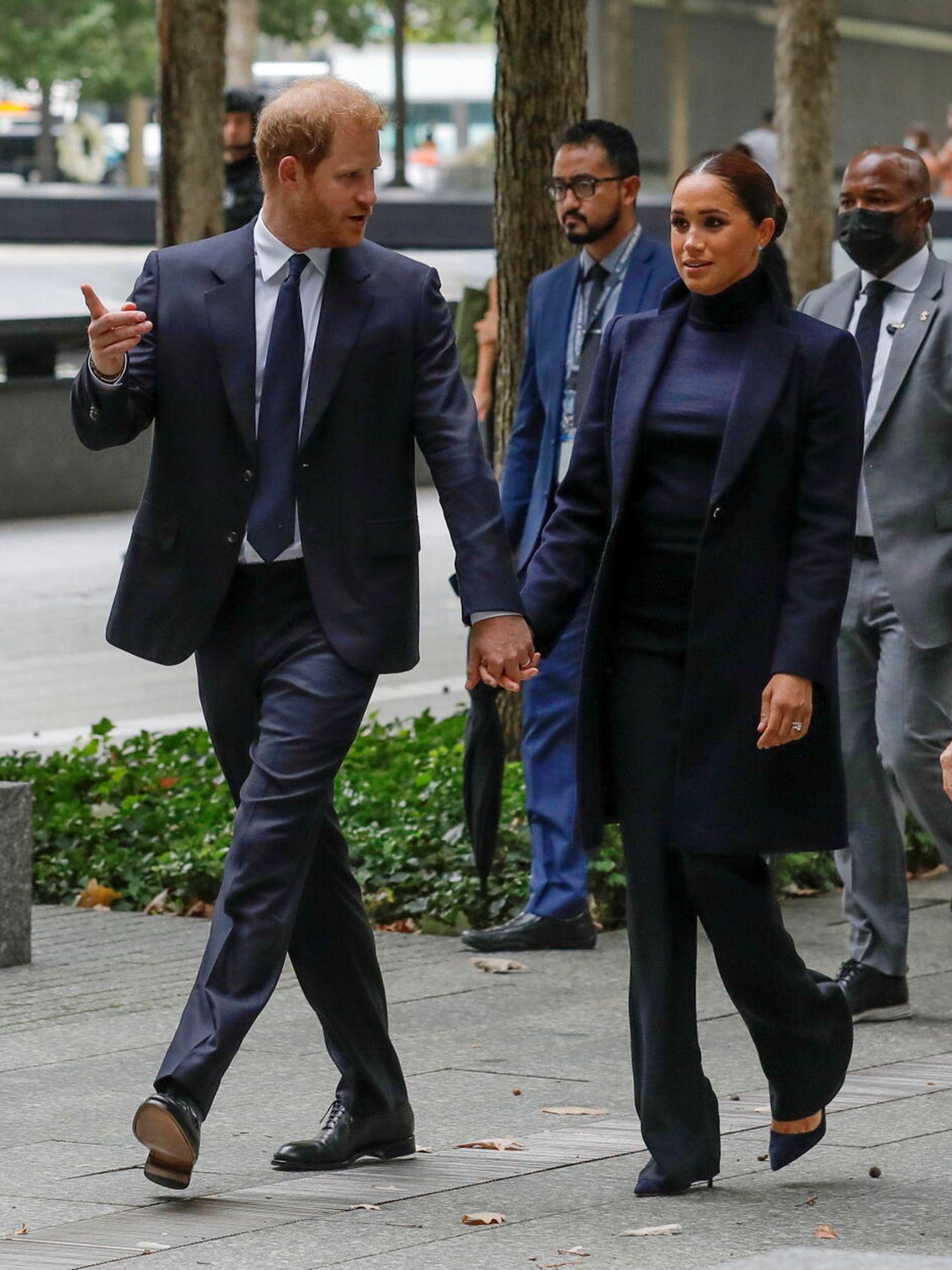 Harry y Meghan visitando el One Word Trade Center. (Reuters)