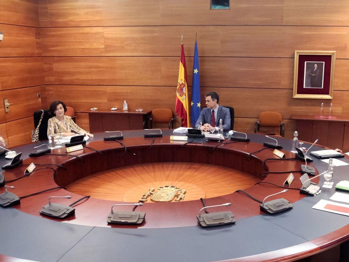 Foto: Pedro Sánchez, durante la reunión del Consejo de Ministros de este 19 de mayo. (Pool Moncloa)