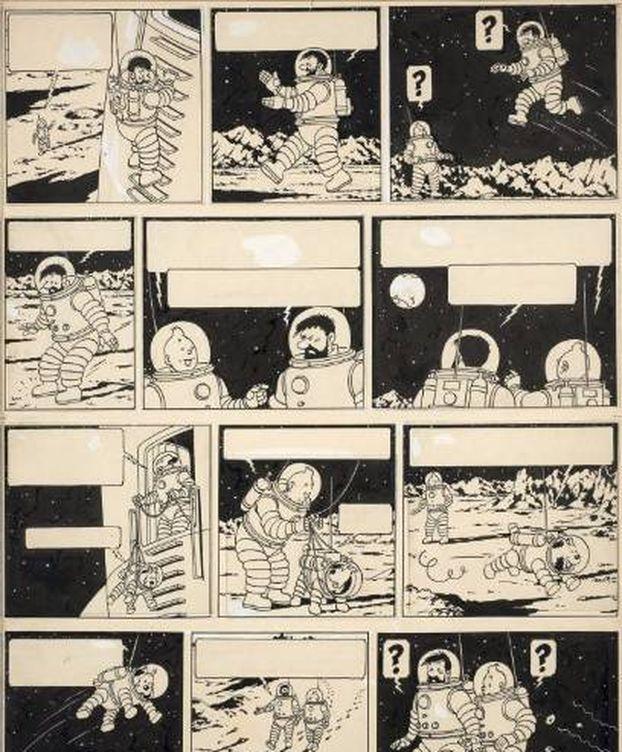 Foto: Plancha de Tintin vendida por 1,55 millones de euros. (Artcurial)