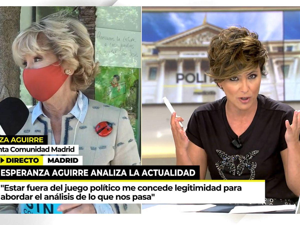 Foto: Esperanza Aguirre y Sonsoles Ónega, en 'Ya es mediodía'. (Telecinco)