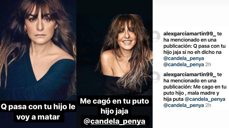 Las amenazas sufridas por la actriz. (Instagram @candela_penya)
